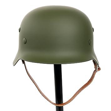 YaeTek Black WW2 - Casco de acero con forro de piel y correa de barbilla,