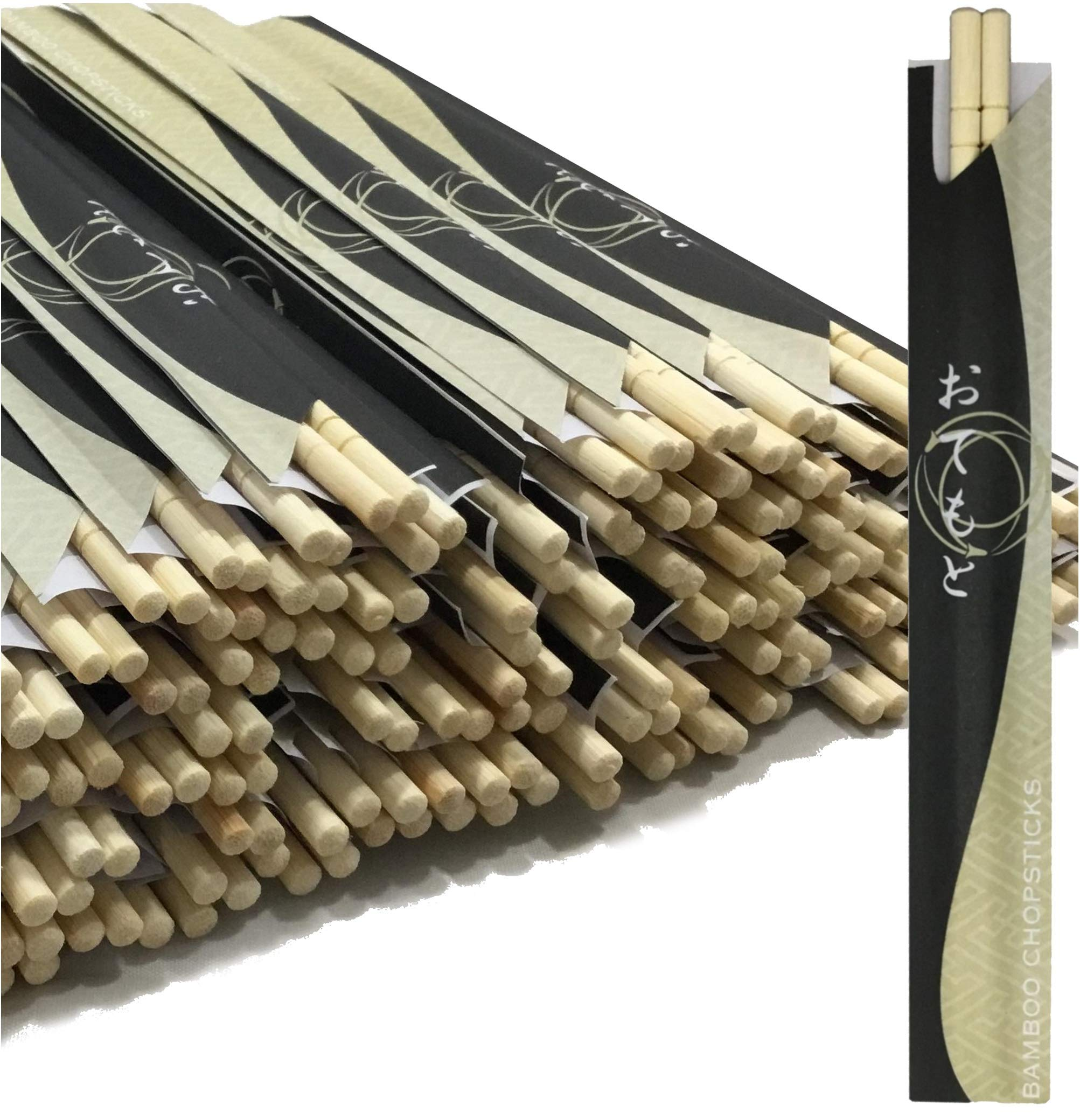 Albino Monkey 200 Round Separated Disposable Chopsticks | Best for Sushi | Bamboo Wooden Chinese Chop sticks - Bamboo Chopstick Bulk - Disposable Utensils Premium Quality - (100 Pairs)