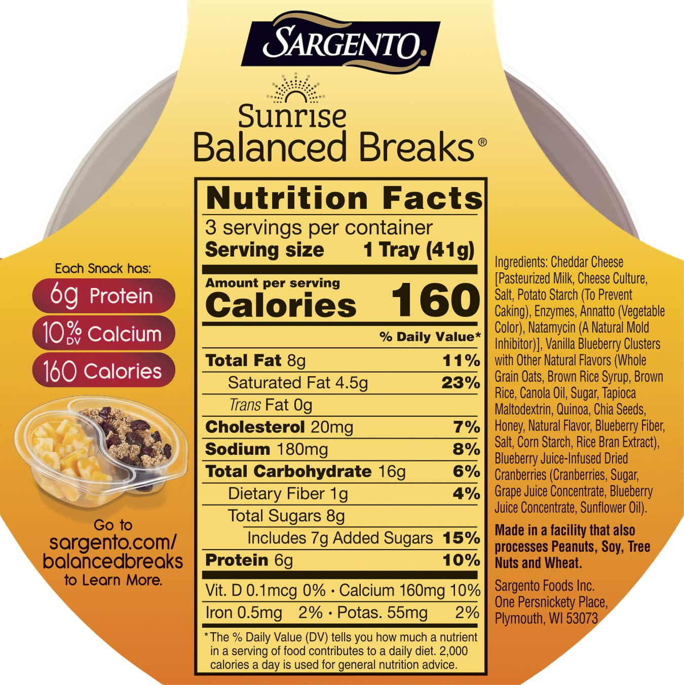 Sargento Foods Sunrise Balanced Breaks with Double Cheddar ...