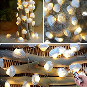 HDNICEZM Beach Seashell Decorative String Lights 14.1Ft 40 Warm White LED Waterproof Battery Operated Ocean String Lights for Bedroom Wedding Holiday Party Garden Indoor Outdoor Decorations
