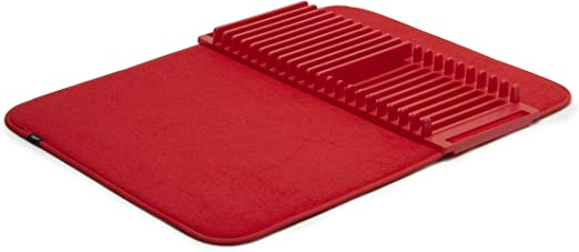 Amazon Com Umbra Udry Rack And Microfiber Dish Drying Mat Space Saving Lightweight Design Folds Up For Easy Storage 24 X 18 Inches Standard Red Home Kitchen