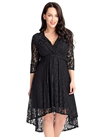 9d62ecada95d ACKKIA Woman's V Neck 3 Quarter Sleeve High Waist Cocktail Floral Lace  Solid Overlay High Low