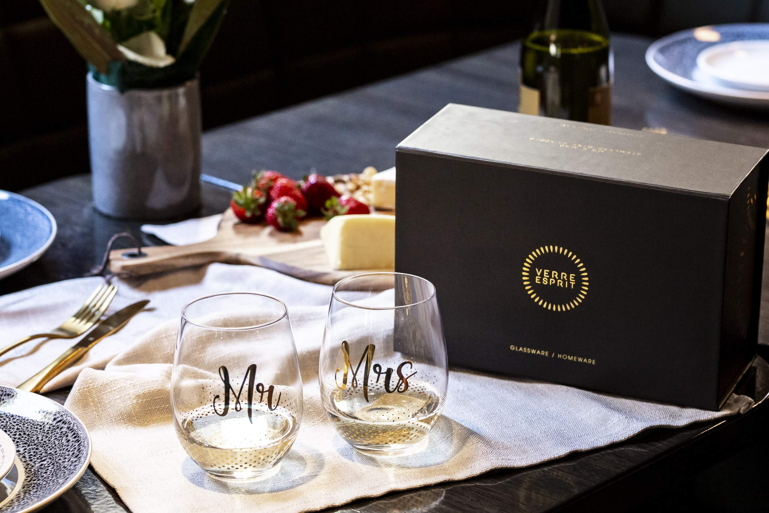 Mr & Mrs Gifts, set of 2 Crystal stemless wine glasses, with beautiful gift box, Perfect Engagement Gift, Wedding gift, Anniversary or Couples gift. by Verre Esprit (Image #3)
