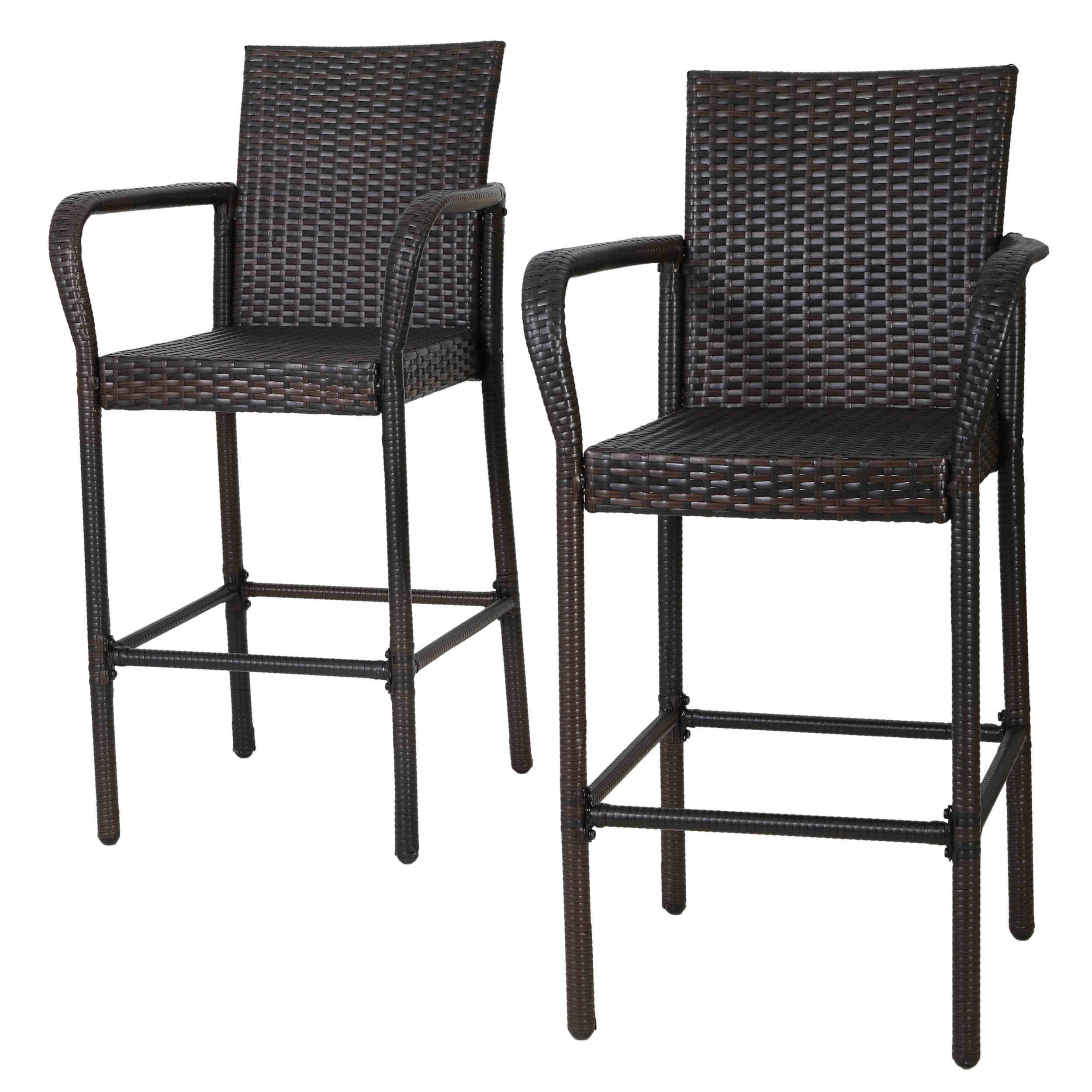 Christopher Knight Home Delfina Outdoor Wicker Barstool (Set of 4 ...