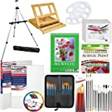 """US Art Supply 72-Piece Deluxe Acrylic Painting Set with, Aluminum Floor Easel, Wood Drawer Table Easel, 24-Tubes Acrylic Colors, 9""""x12"""" Acrylic Painting Paper Pad, 6-each 8""""x10"""" Canvas Panels, 2-each 11""""x14"""" Stretched Canvases, 34 Artist Brushes, Plastic Palette with 10 Wells, Wooden Pallete & Now Includes a FREE Color Wheel -Great Student Artist Starter Set"""