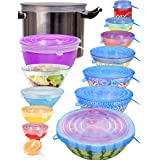 longzon Silicone Stretch Lids 14 Pack Include 2Pcs XXL Size up to 9.8'' Diameter, Reusable Durable Food Storage Covers for Bo