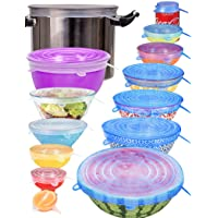 longzon Silicone Stretch Lids 14 Pack Include 2Pcs XXL Size up to 9.8'' Diameter, Reusable Durable Food Storage Covers…