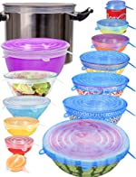 longzon Silicone Stretch Lids Set of 14,Reusable Durable Food Storage Covers