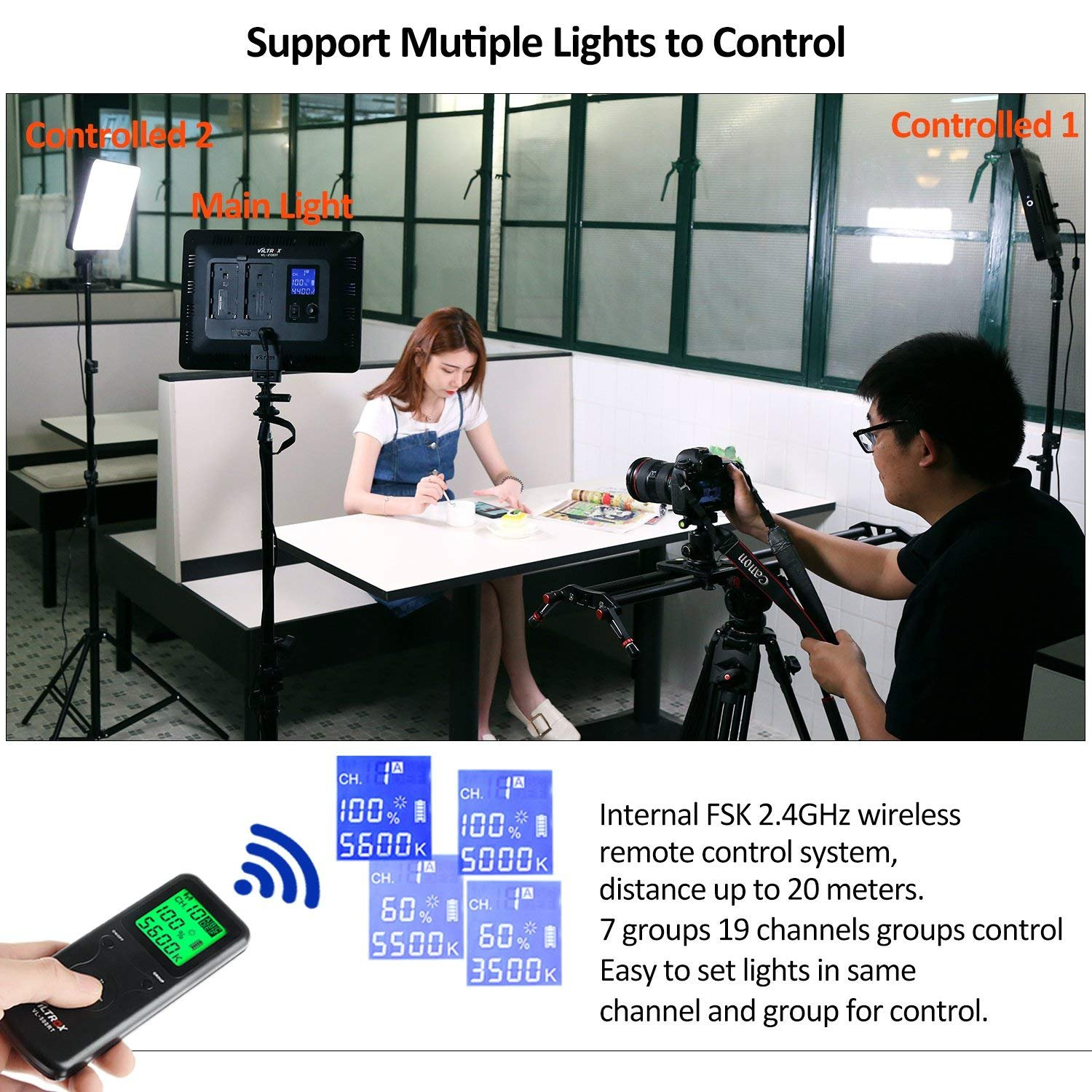 2 Packs VILTROX LED Panel Light with Stand Kit, (30W/2450Lux) Bi-Color Dimmable Studio Photography Video Lighting kit CRI95+ for Wedding News Interview YouTube Live Video by VILTROX (Image #4)