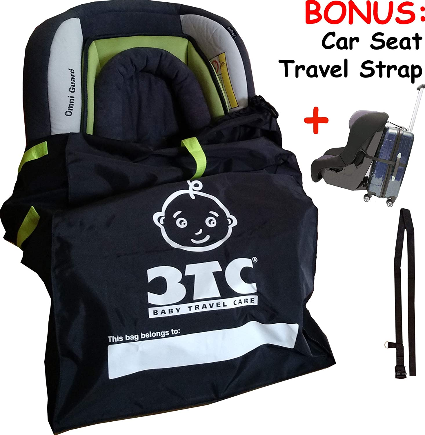Car Seat Travel Bag With Bonus Strap That Converts Suitcase Into Rolling Stroller Faster Check In At Airports
