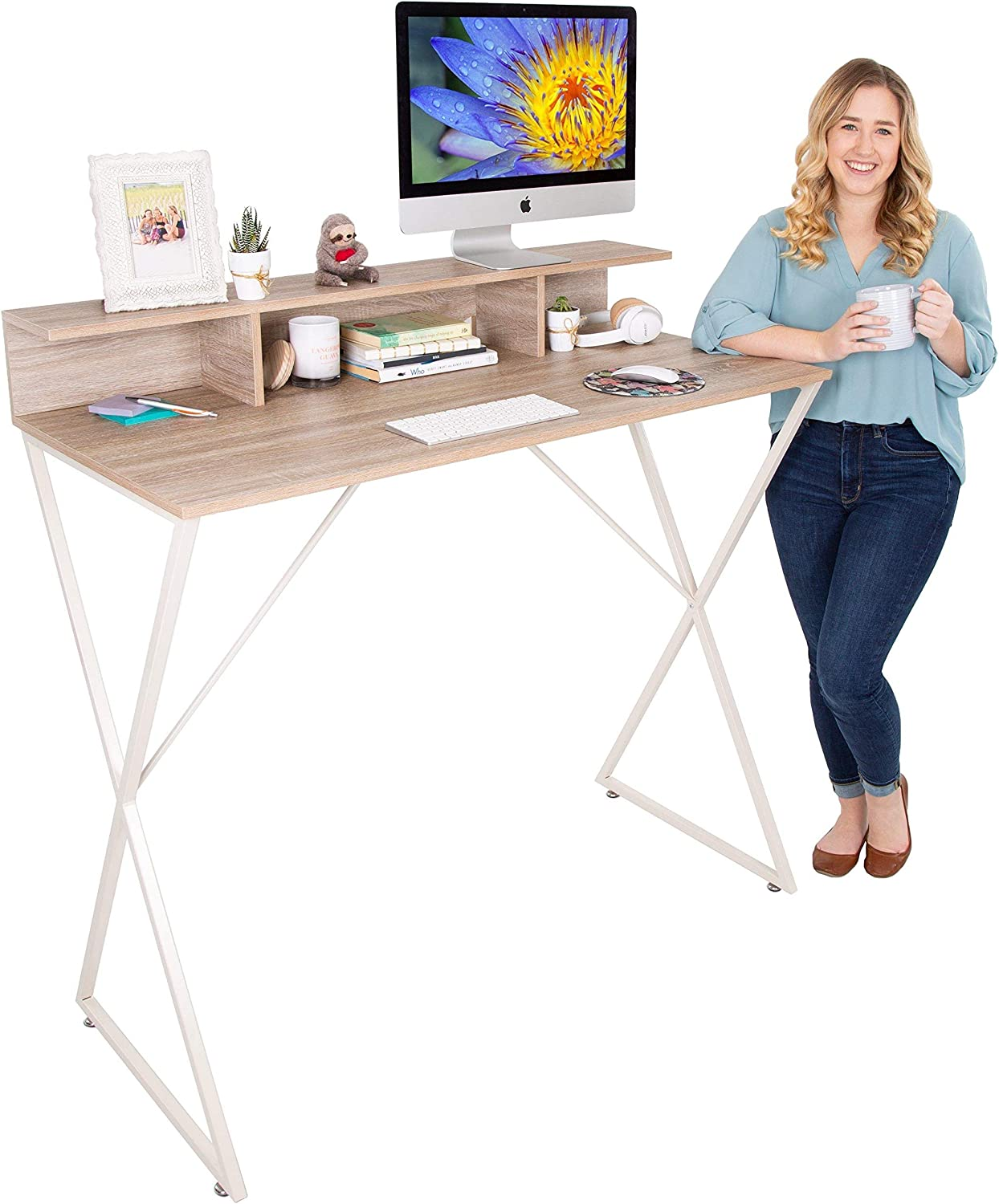 Stand Steady Joy Desk | Modern Stand Up Workstation with Storage Cubbies | Pretty Standing Desk with Large Desktop | Multifunctional Table for Home & Office (Maple / 48 x 42): Office Products