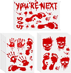 Halloween Decorations 112PCS Halloween Window Clings, 12 Sheets Bloody Handprint Footprint Skull Blood Decor Floor Clings, Spooky Window Stickers Decal for Haunted House Halloween Party Decorations