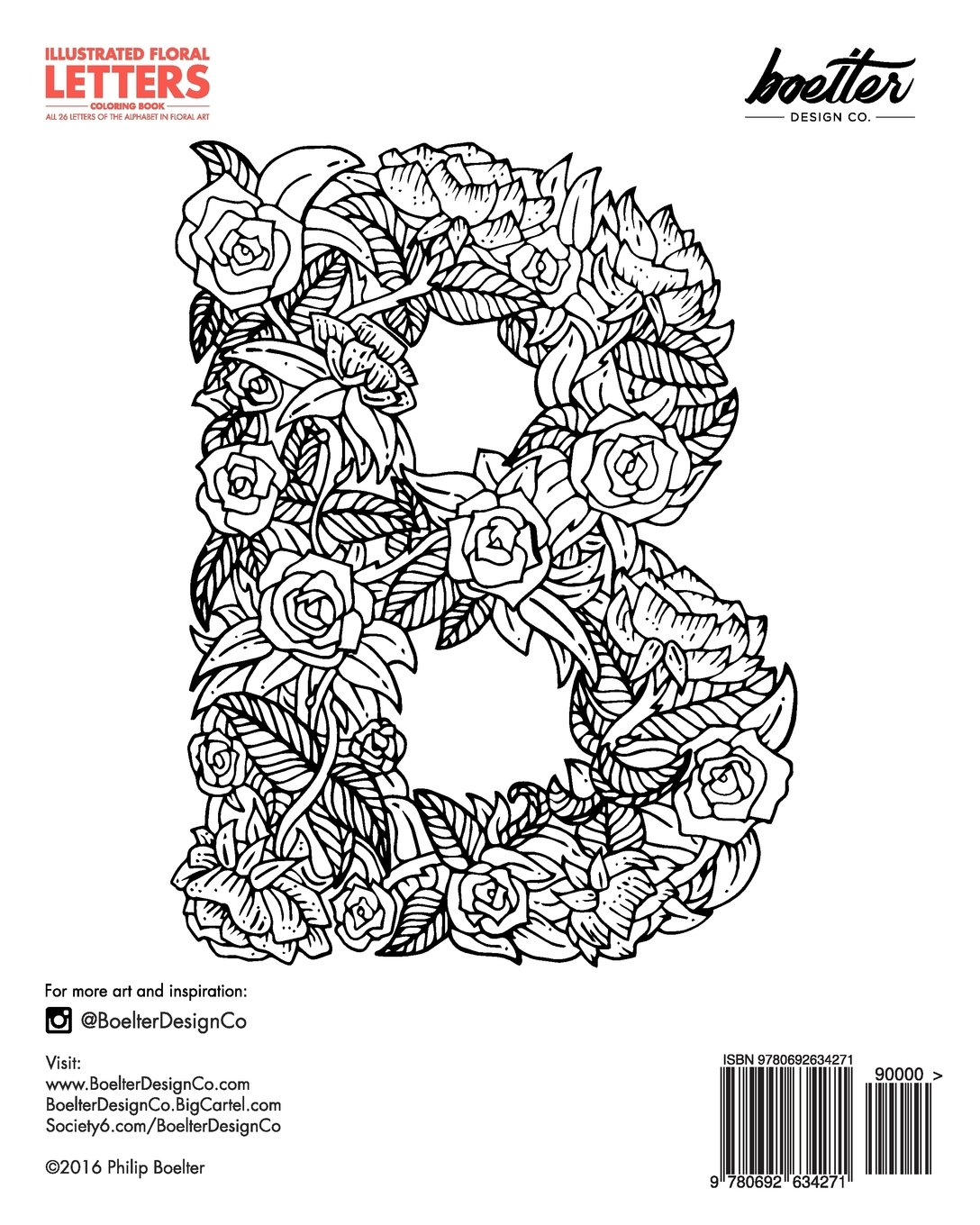 Illustrated Floral Letters Coloring Book: All 26 Letters of the ...