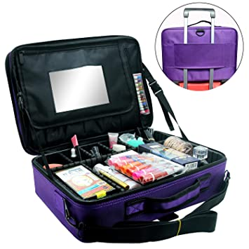 Relavel Makeup Train Case 3 layer Multi Functional Professional Makeup Bag  Large Make Up Artist Box a565ae04431be