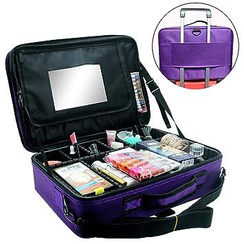 540474b5b5e0 Relavel Makeup Train Case 3 layer Multi Functional Professional Makeup Bag  Large Make Up Artist...