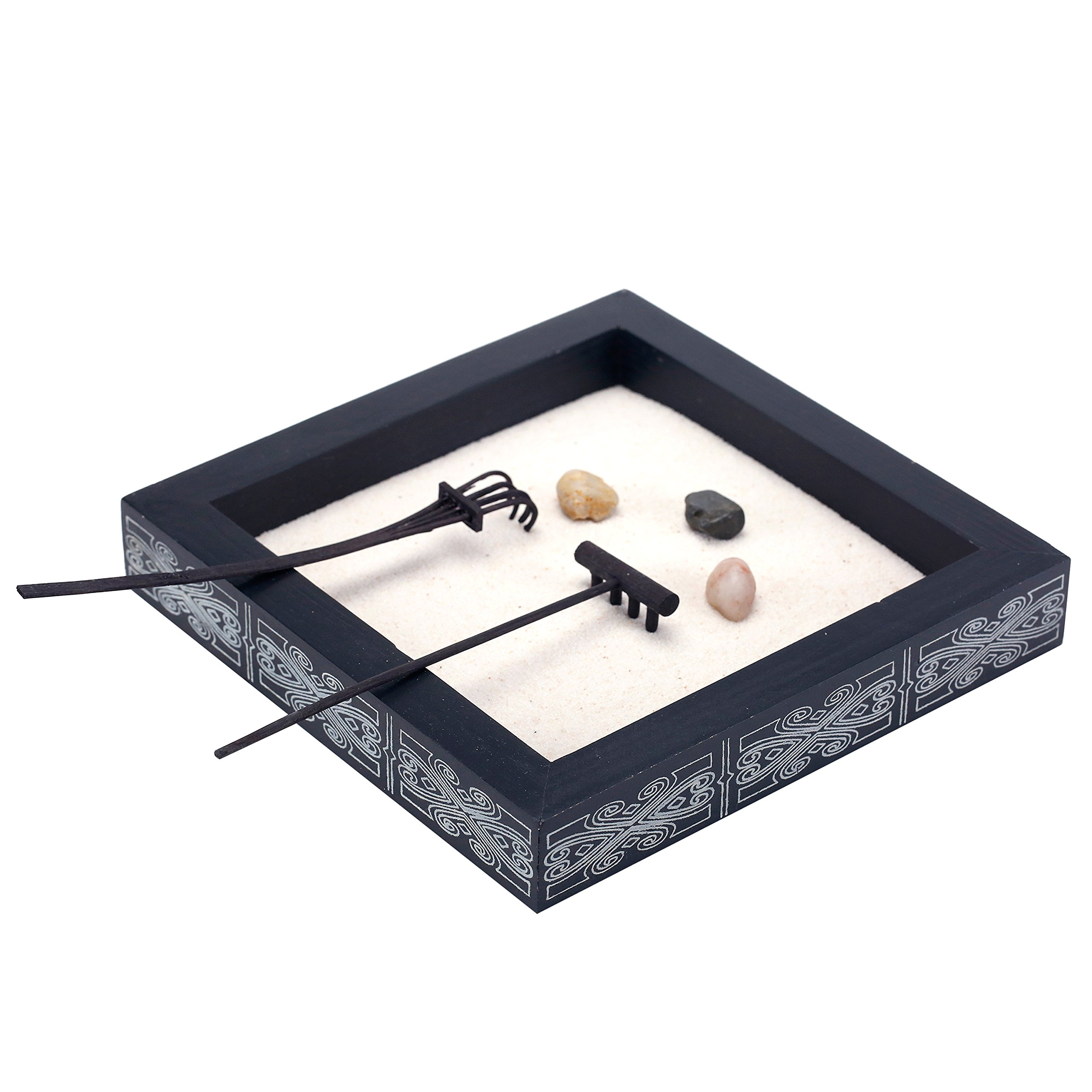 Minimalist Tabletop Zen Garden Kit with Stones and Rakes in Decorative Wood Black Box Tray