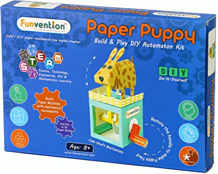Funvention- for Little Scientist in Every Kid 3D Paper Puppy Automaton Animation DIY Puzzle Toy Kit