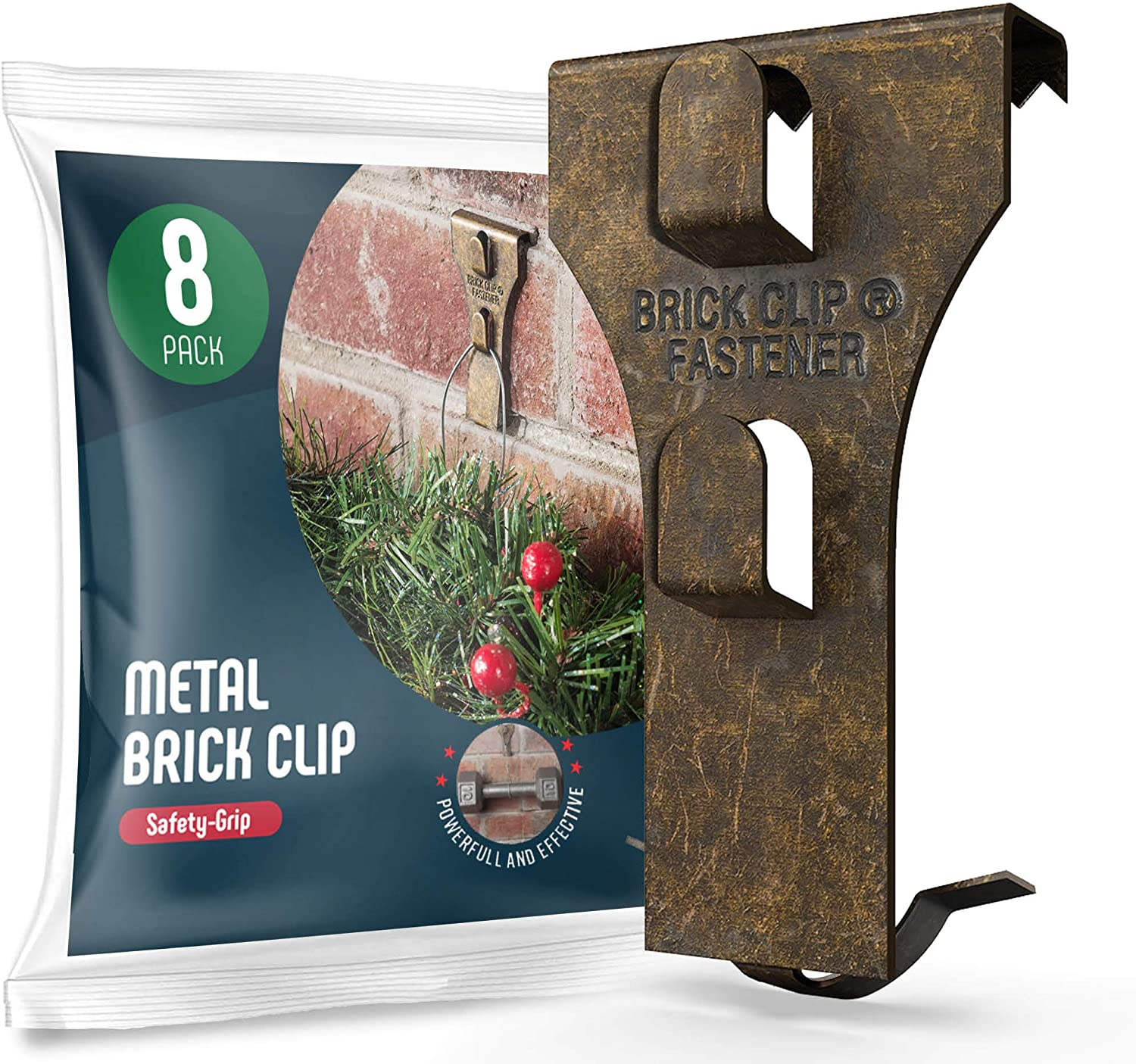 Brick Clips Hanger [Set of 8] Metal Brick Clip for Hanging Outdoors, Hanging Wreaths, Garlands, Lights, Wall Pictures & All Décor Hanging - Fits Brick 2.3 / 2.6 Inch - Holds Up to 25 Pounds - USA Made