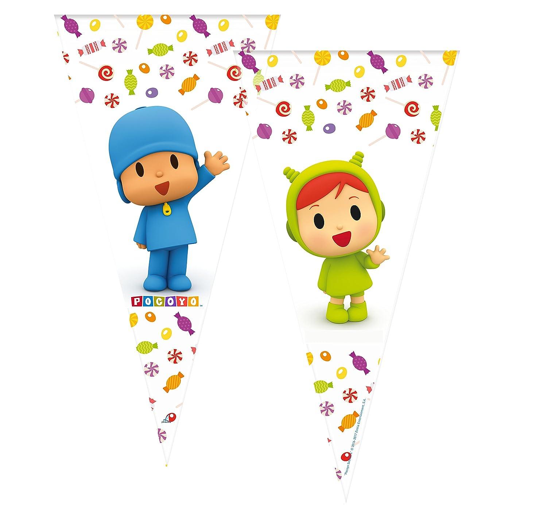 ALMACENESADAN 2358; Pack 6 Bolsas de Cono Pocoyo y Nina; Ideal para Fiestas y cumpleaños; Bolsas para gominolas o Regalos; Producto de plástico; ...