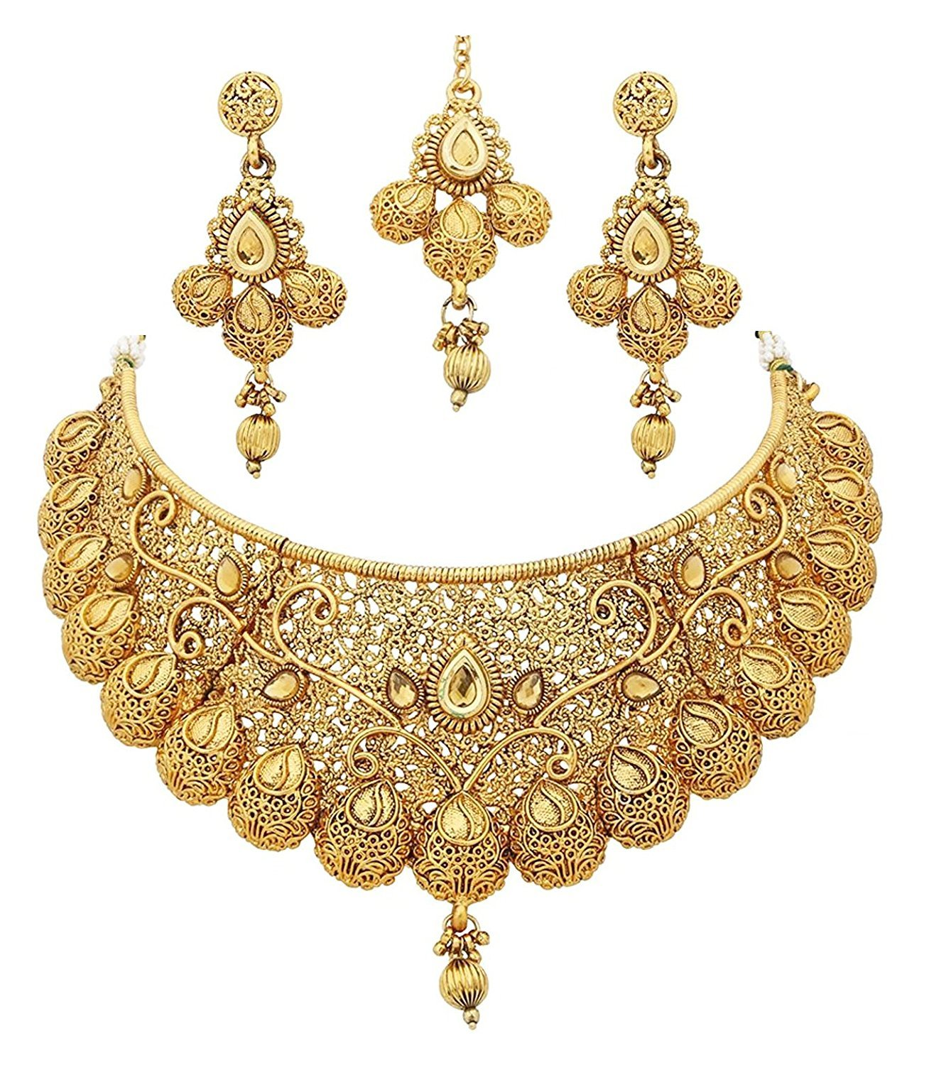 Crunchy Fashion Royal Bling Bollywood Traditional Indian Jewelry Temple Necklace With Earrings Set for Women
