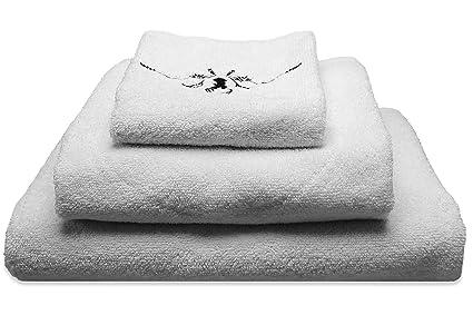 Juego de toallas de rizo con ciervo bordado – Original FROHSINN ducha, toalla de mano