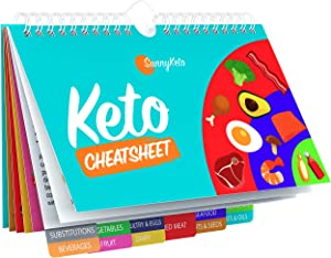 Keto Diet Cheat Sheet Quick Guide Fridge Magnet Reference Charts for Ketogenic Diet Foods - Including Meat & Nuts, Fruit & Veg, Dairy, Oils & Condiments By SunnyKeto (14 Page Guide)
