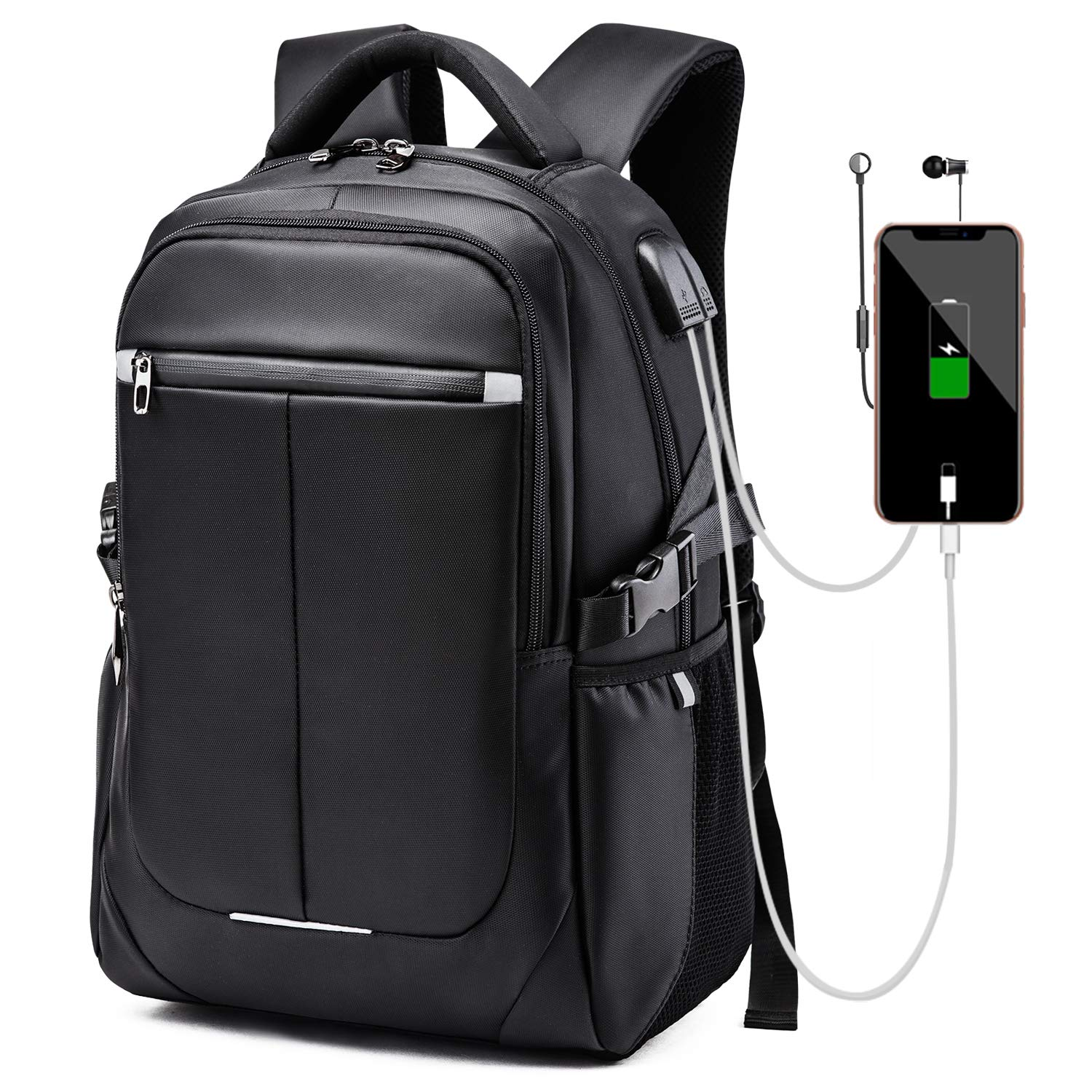 8b17f3c6ae89 misognare Business Laptop Backpack Water Resistant School Rucksack with USB  Charging Port for Women Men, Fits 17 Inch Laptop and Notebook (Black)