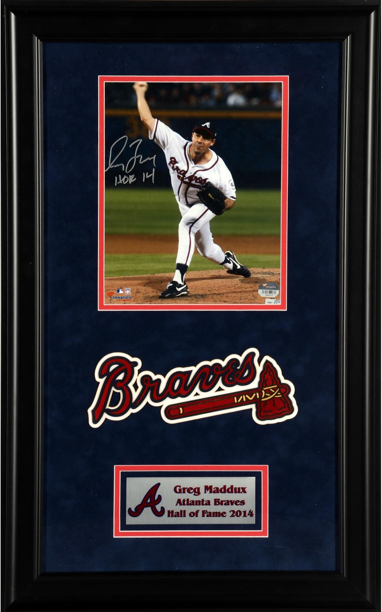 """Greg Maddux Atlanta Braves Deluxe Framed Autographed 8"""" x 10"""" Vertical Pitching Photograph with HOF 2014 Inscription Fanatics Authentic Certified"""