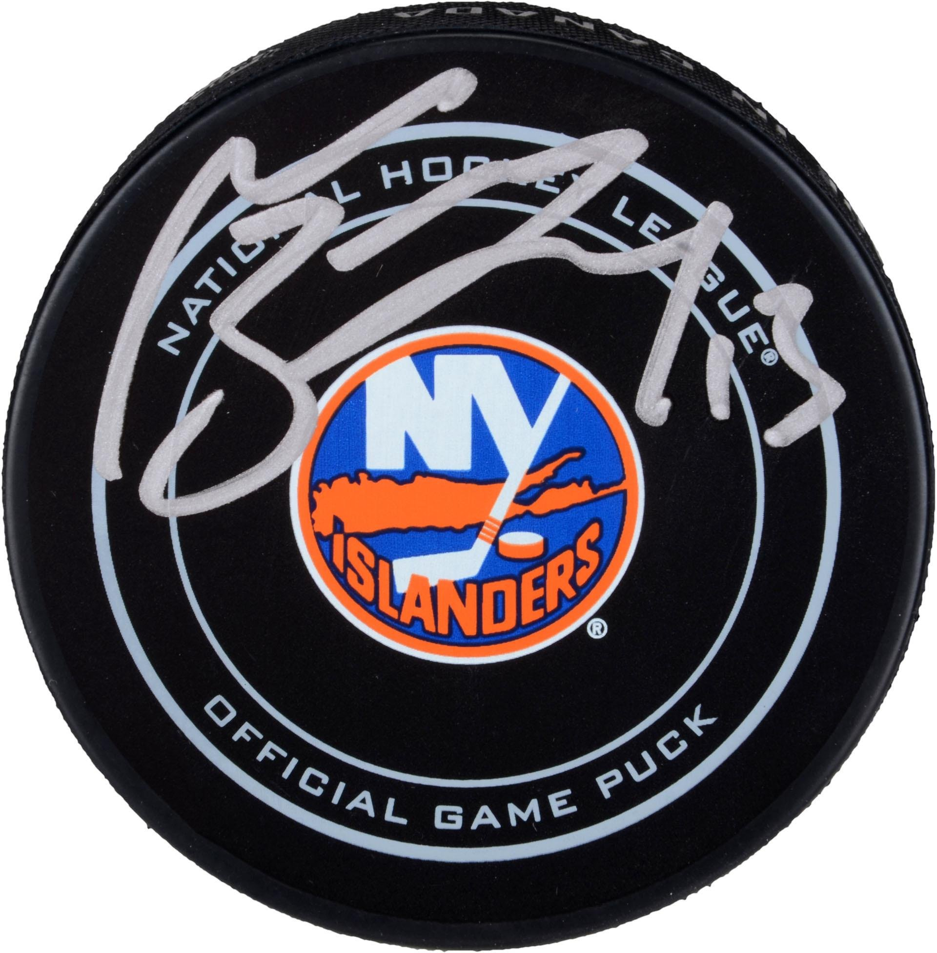 Mathew Barzal New York Islanders Autographed Official Game Puck Fanatics Authentic Certified Autographed NHL Pucks