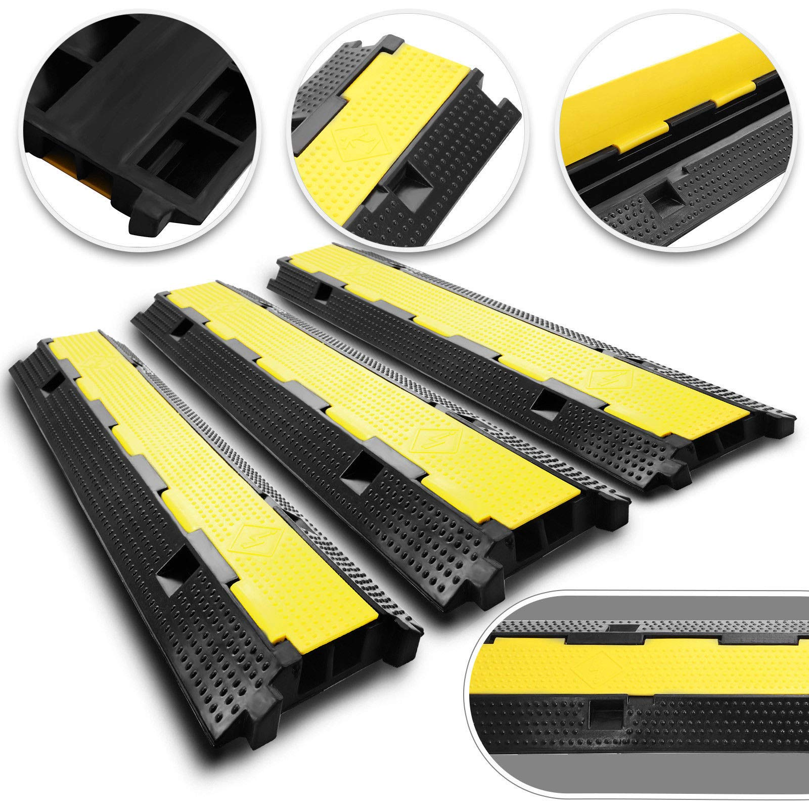 Pack of 3 Cable Protectors Ramp Dual Channel Heavy Duty Rubber Speed Bumps for Driveway Hose Outdoor Wire Power Lines Electrical Cord Extension Cord Cover Protective Ramps