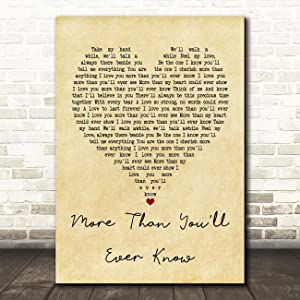 More Than You'll Ever Know Vintage Heart Quote Song Lyric Wall Art Gift Print