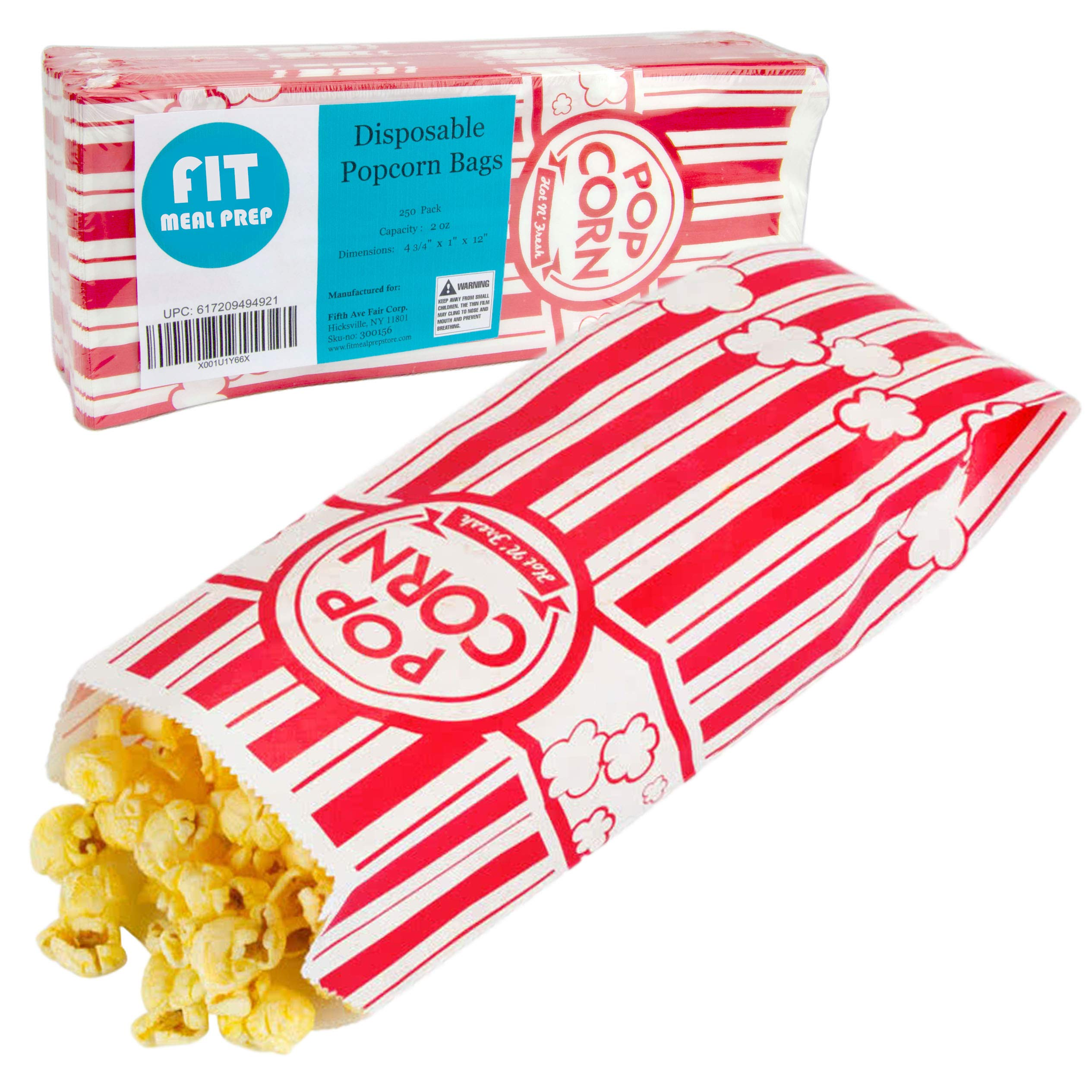 [250 Pack] 2 oz Popcorn Bags - Disposable Popcorn Containers Paper Popcorn Boxes Flat Bottom Striped Red and White - Perfect for Movie Night, Concessions, Carnival Party Circus by Fit Meal Prep