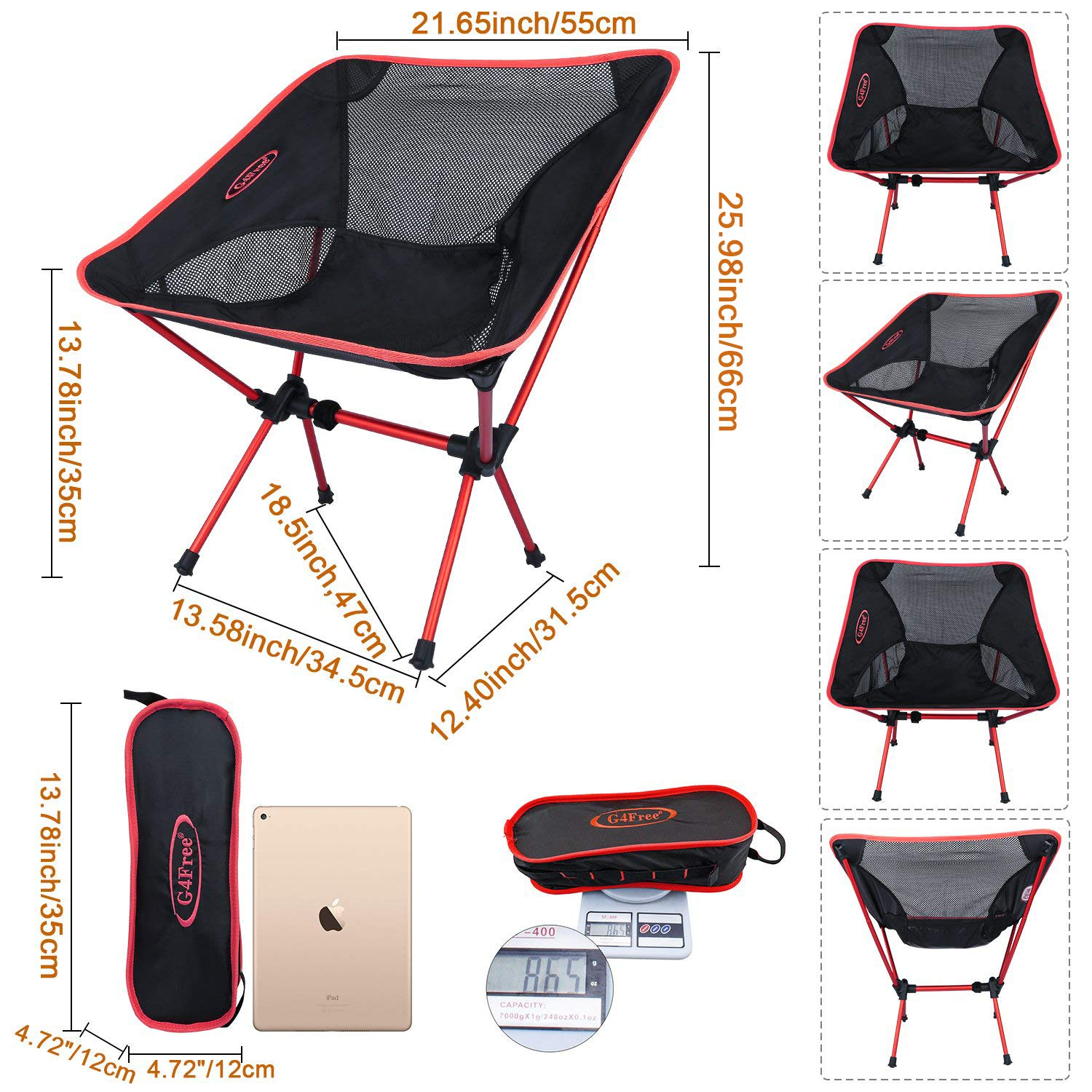 G4Free Portable Camping Chair Lightweight Folding Chair for Backpacking Picnic Beach Festival Hiking,Low Back Camp Chairs