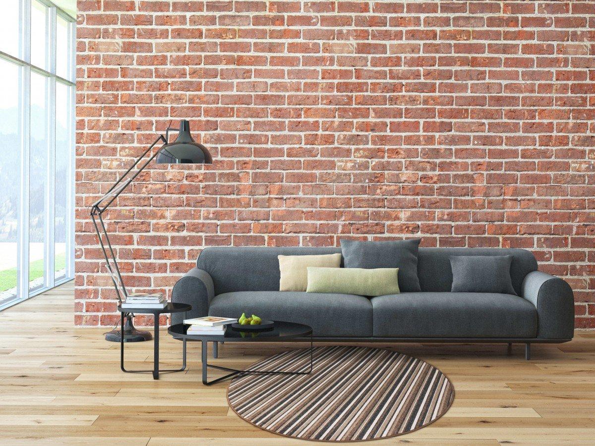 Schlingen Teppich Chipmunk rund - Farbe: Braun - Grau oder Rot gestreift | hochwertige und strapazierfähige Qualit