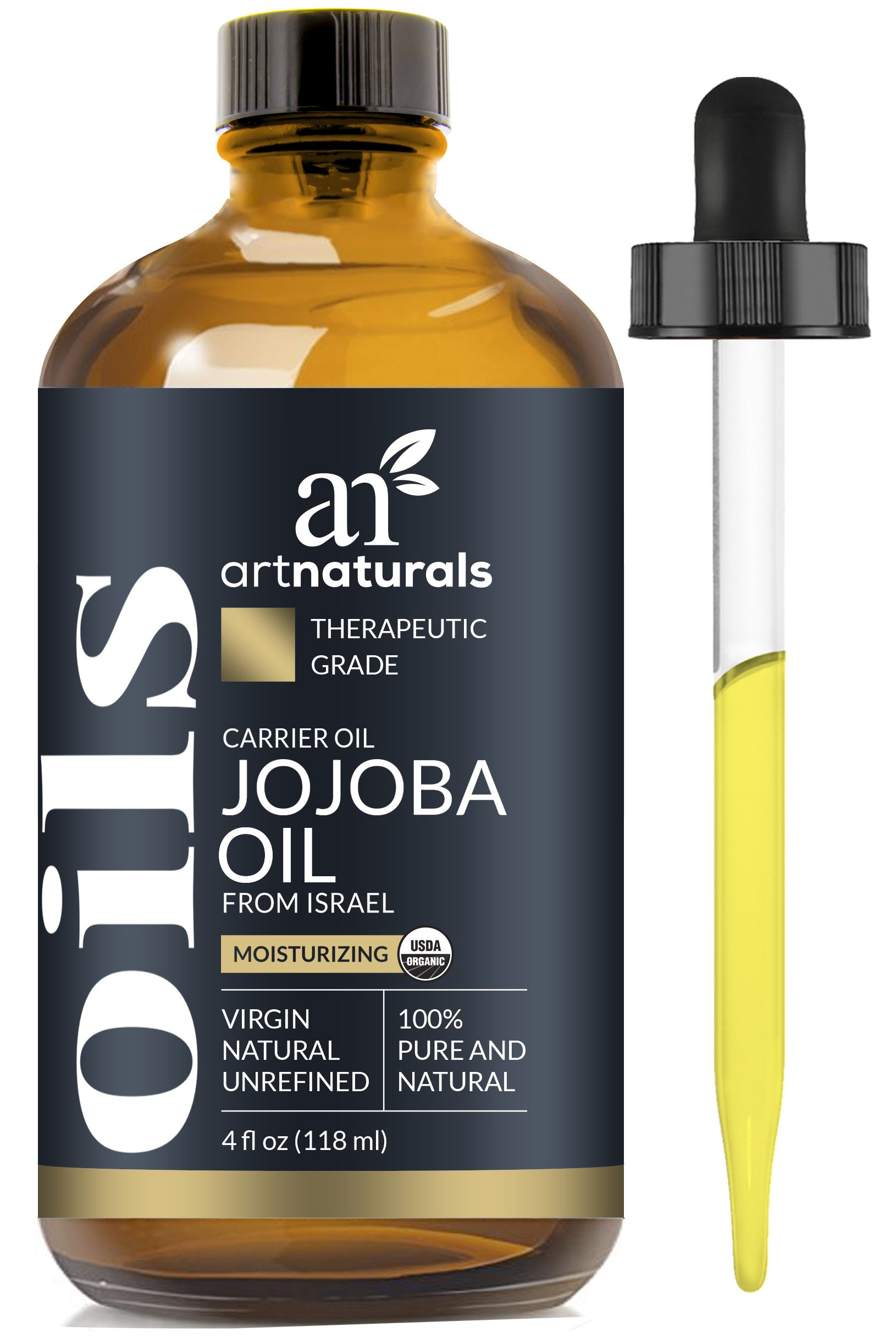 ArtNaturals Organic Jojoba Oil - 4 oz - 100% Pure & USDA Certified Cold Pressed Natural & Unrefined- Great Moisturizer for Face, Hair, Skin, Nails, Lips, Cuticles, Stretch Marks & Sensitive Skin