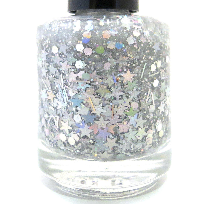 Amazon.com : Shooting Star Nail Polish - Silver Star Glitter Nail ...