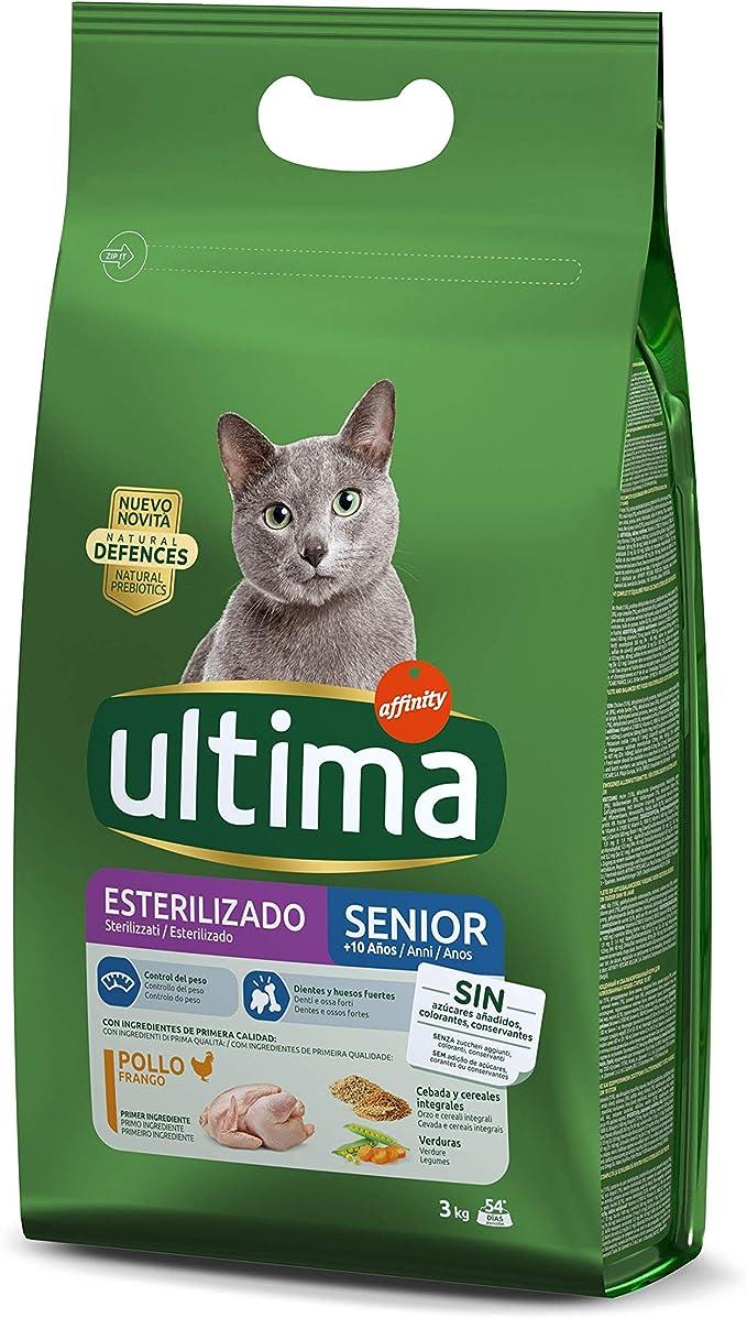 Ultima Pienso para Gatos Esterilizados Senior + de 10 Años con Pollo - 3000 gr