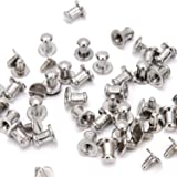 RUBYCA 30 Sets Silver Color Button Spike and Studs Metal Screw-Back Leather-craft DIY 8MM X 8MM