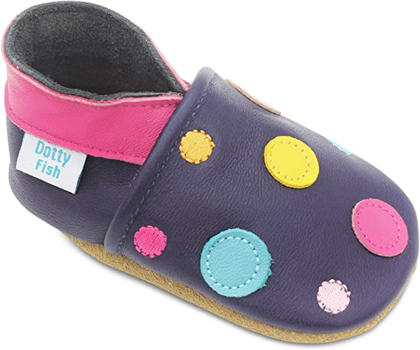 Dotty Fish Soft Leather Baby Shoes. 0-6