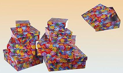 Cajas Regalo Cumpleaños con texto Happy Birthday Juego 8 ...