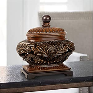"Kensington Hill Weldona 9"" High Vine and Leaf Wood Finish Bowl with Lid"