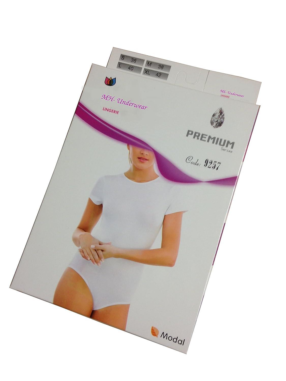 Kurzarm mit Druckkn/öpfen MODAL Baumwolle-MODAL Lycra Basic mh-underwear Damen Body