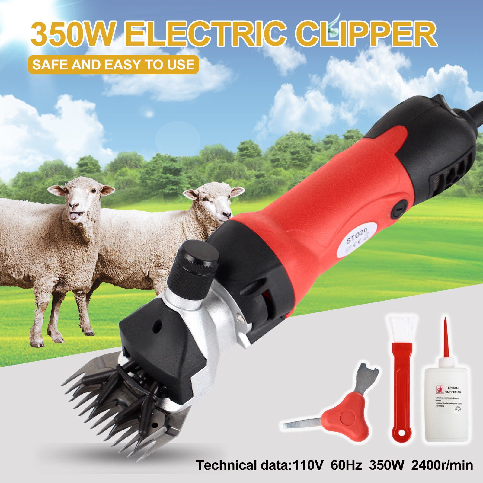 Electrical Sheep Clipper/Wool Shearing Machine Sheep Shears Farm Electric Sheep Goat Clipper Kit Animal Shaver 350W