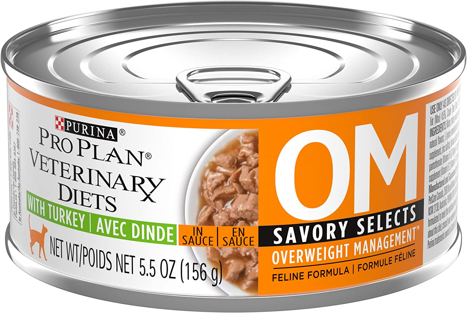 Purina Pro Plan Veterinary Diets OM Overweight Management Savory Selects With Turkey Feline Formula Wet Cat Food - (24) 5.5 oz. Cans