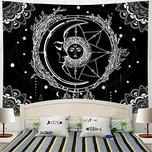 Moon and Sun Tapestry Psychedelic Bohemian Mandala Wall Tapestry Black and White Indian Hippy Celestial Tapestry Starry Dreamcatcher Tapestry Wall Hanging for Bedroom Living Room Dorm W92.5 H70.9