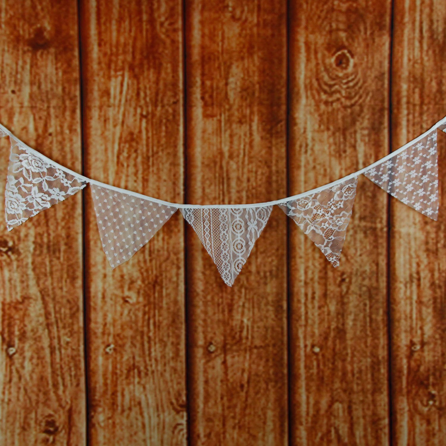 Get Orange 2 piece 126 Inch cotton cloth Vintage Favors Event Party Supplies Decoration Wedding White Lace Triangle Flags Cotton Decor Banner Banner banquet