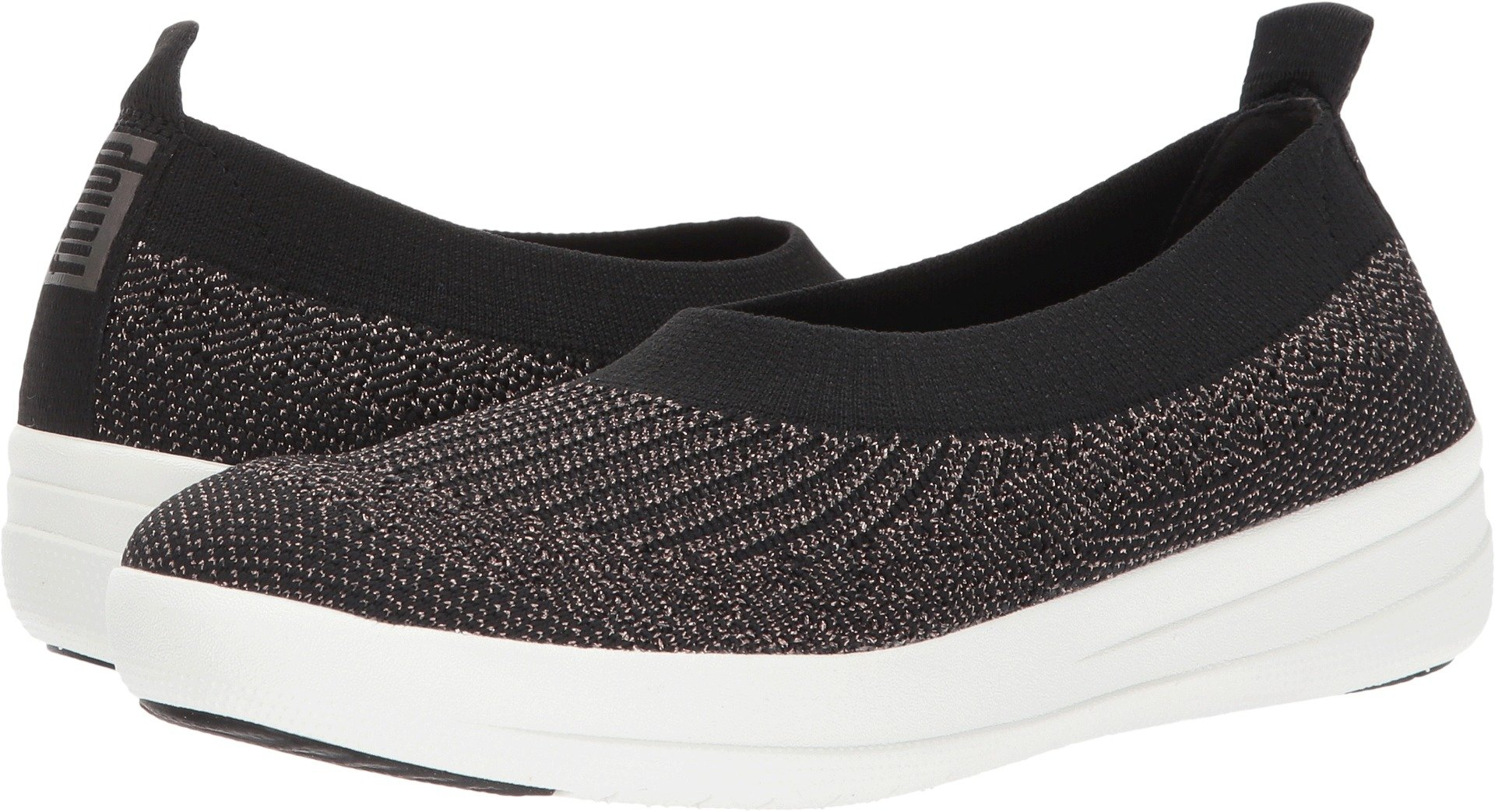 FitFlop Womens Uberknit Slip On Black/Bronze Metallic Sneaker - 10