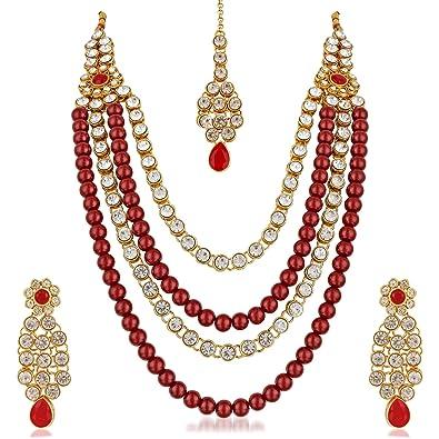 Buy Meenaz Jewellery Gold Plated Kundan Pearl Ruby Maang Tikka