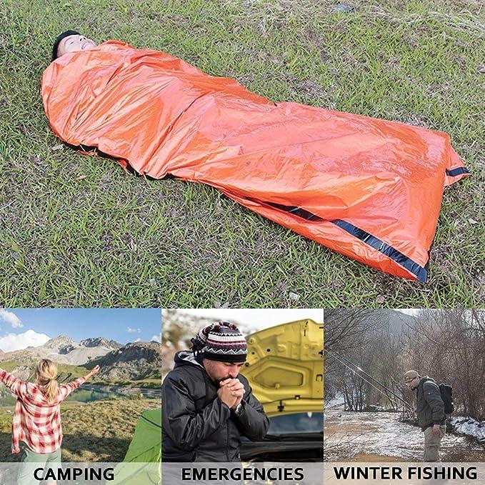 AumoToo Saco de Dormir de Emergencia, Bolsa de Rescate de Supervivencia Liviana Manta de Dormir térmica Bolsas de Bivy portátiles para Acampar al Aire Libre ...