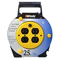 Deals on Woods Extension Cord Reel 25-Foot with 4-Outlets